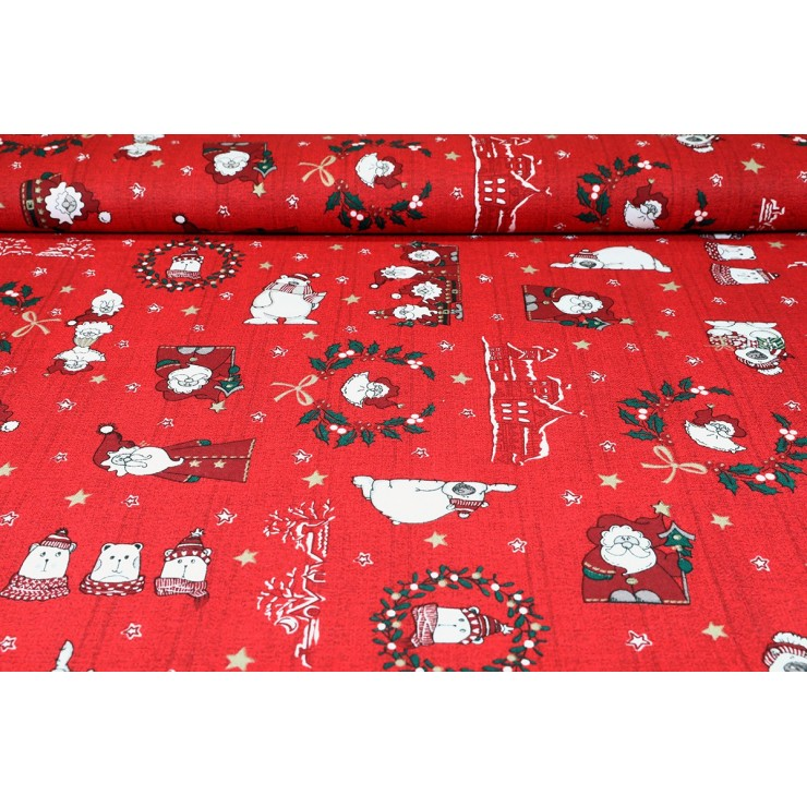 Dekoračná látka bavlna Mikuláš červená, šírka 140 cm