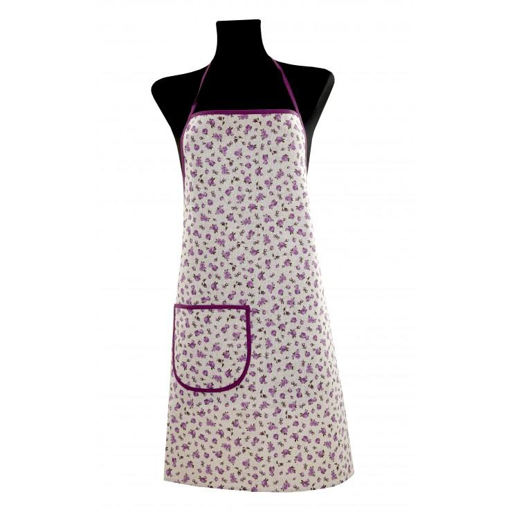 Kuchynská zástera fialové kvety