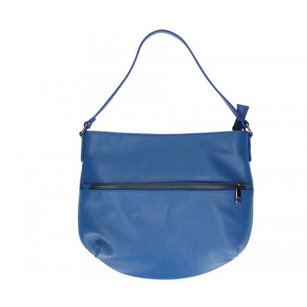 Azurovo modrá kožená kabelka na rameno 5311