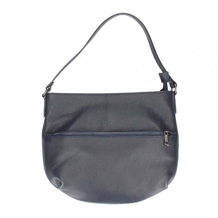 Tmavě modrá kožená kabelka na rameno 5311