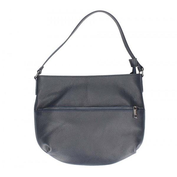 Tmavomodrá kožená kabelka na rameno 5311