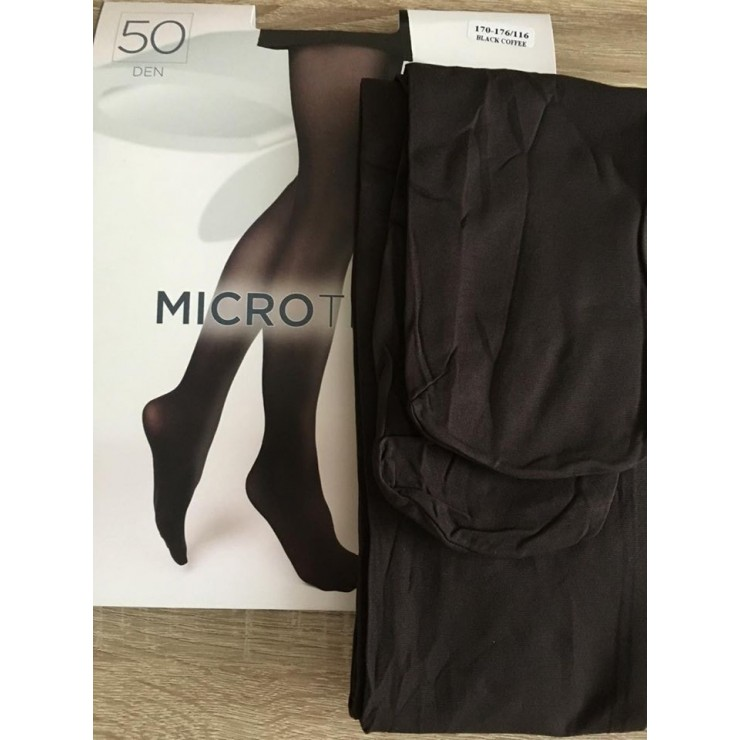 Tmavohnedé pančuchové nohavice s mikrovláknom 50 DEN