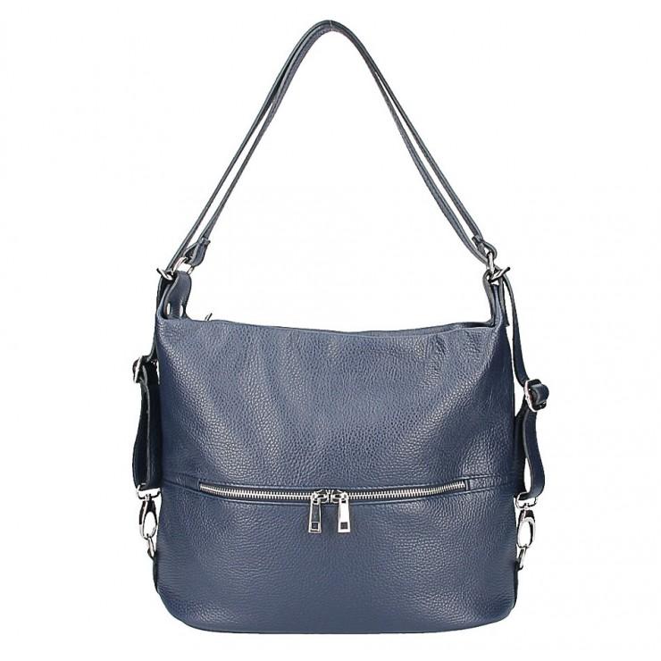 Kožená kabelka na rameno/batoh 328 tmavomodrá