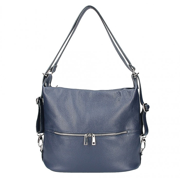 Leather shoulder bag/Backpack 328 dark blue