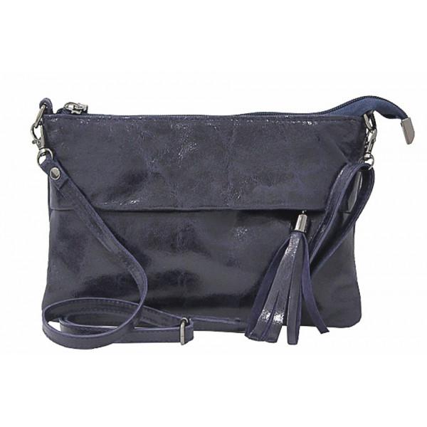 Kožená kabelka 1423A tmavomodrá