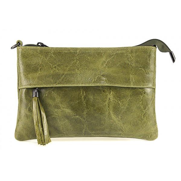 Kožená kabelka 1423A vojenska zelená