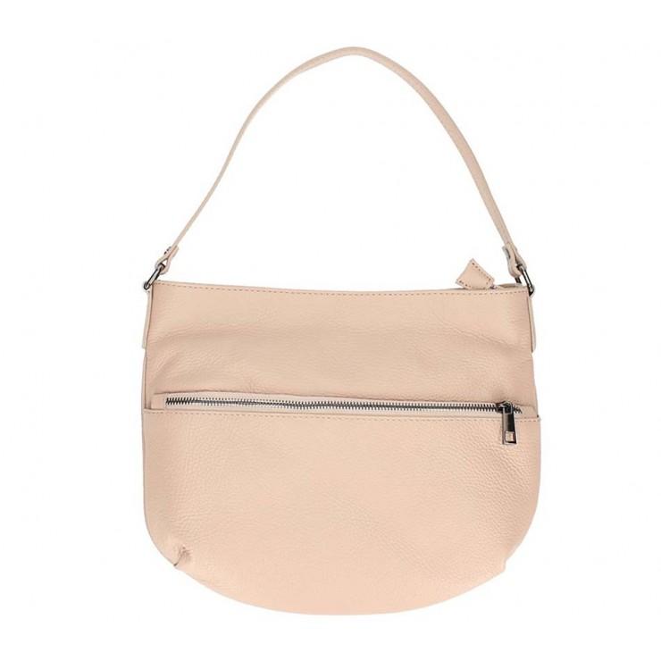 Růžová kožená kabelka na rameno 5311