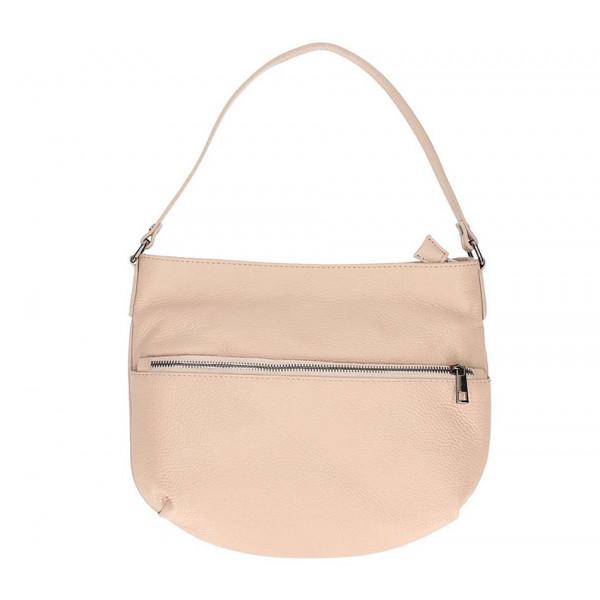Ružová kožená kabelka na rameno 5311