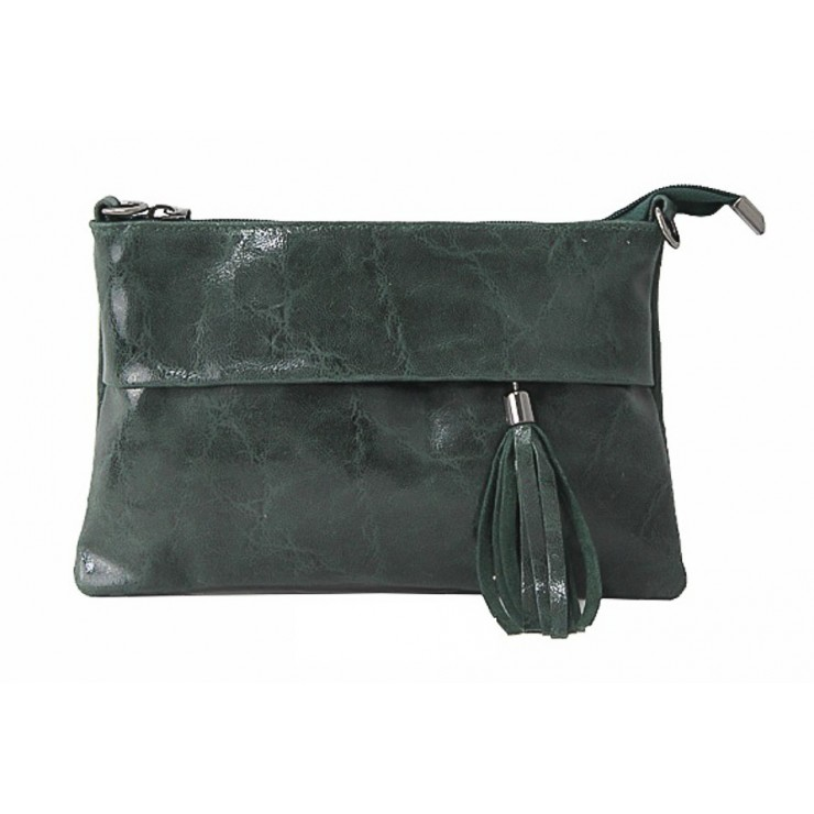 Genuine Leather Handbag 1423A dark green
