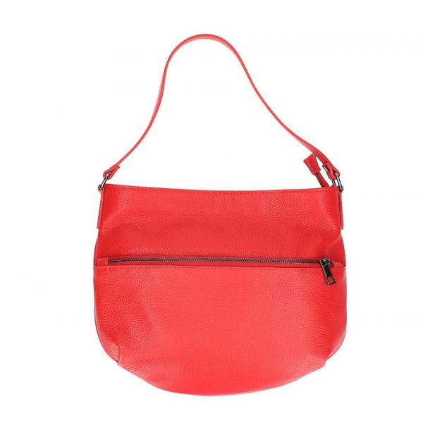 Červená kožená kabelka na rameno 5311
