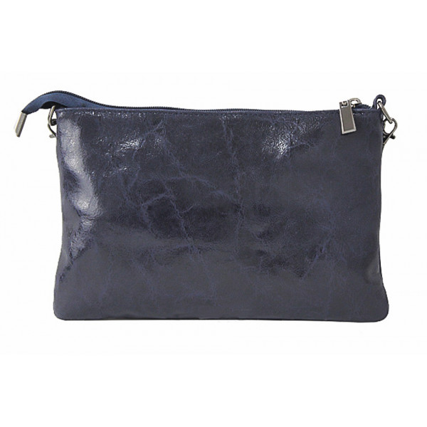 Kožená kabelka 1423A šedá metalíza Šedá