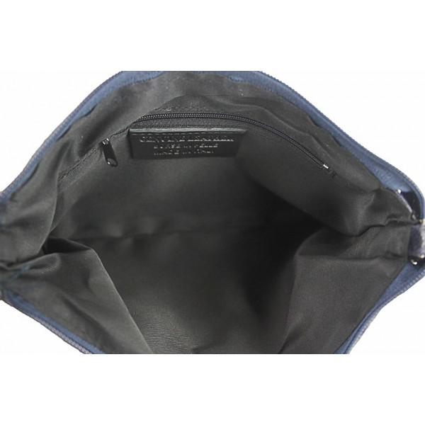 Kožená kabelka 1423A azurovo modrá