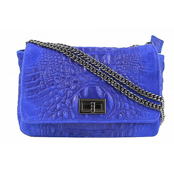 Talianska kožená kabelka potlač krokodýl 439 azurovo modrá