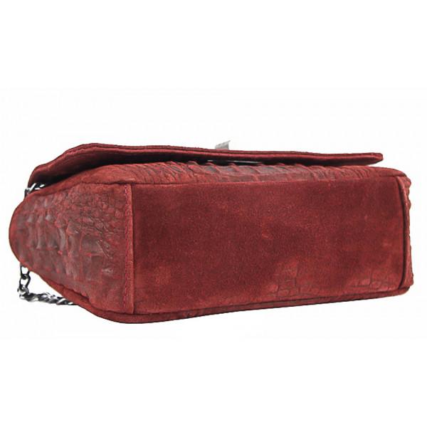 Talianska kožená kabelka potlač krokodíl 439 béžová Béžová