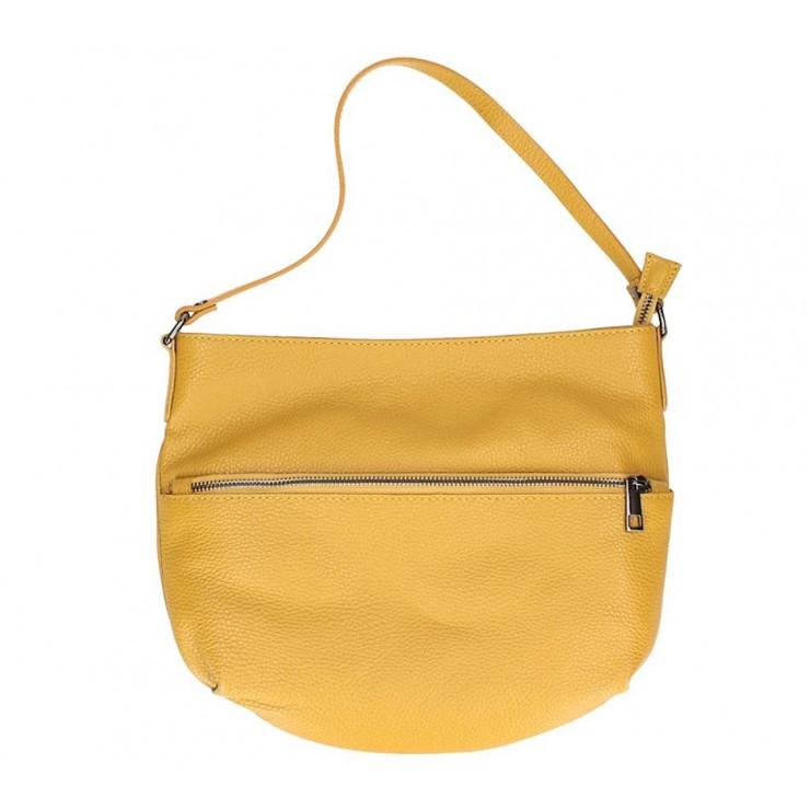 Okrová kožená kabelka na rameno 5311