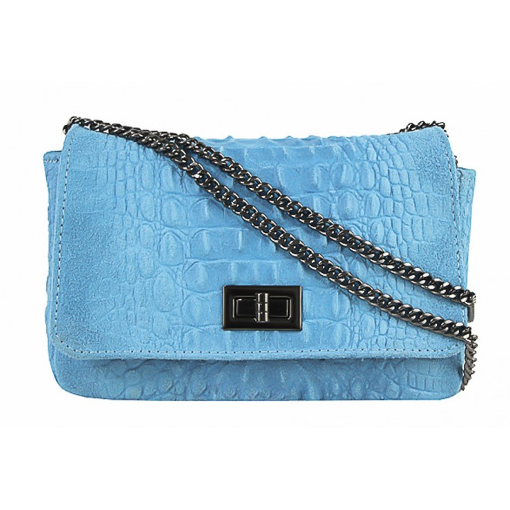 Talianska kožená kabelka potlač krokodíl 439 nebesky modrá