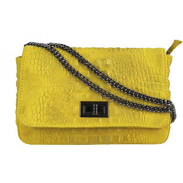 Talianska kožená kabelka potlač krokodíl 439 žltá Žltá