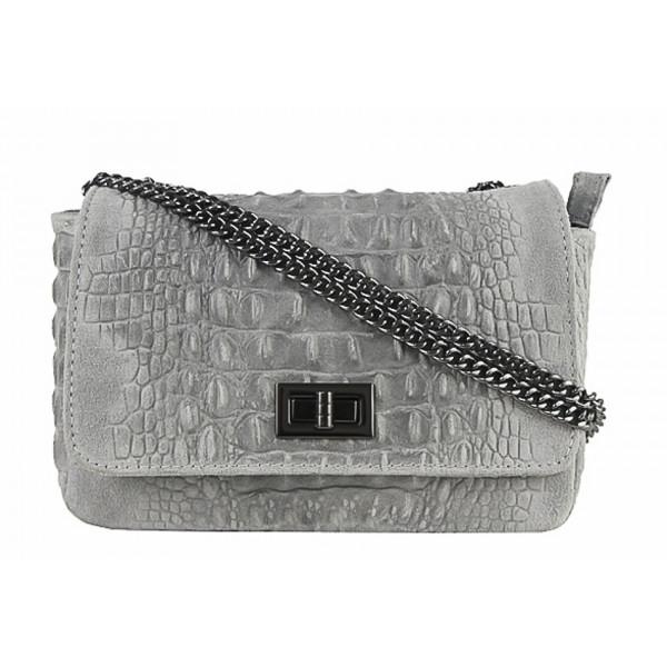 Talianska kožená kabelka potlač krokodýl 439 šedá