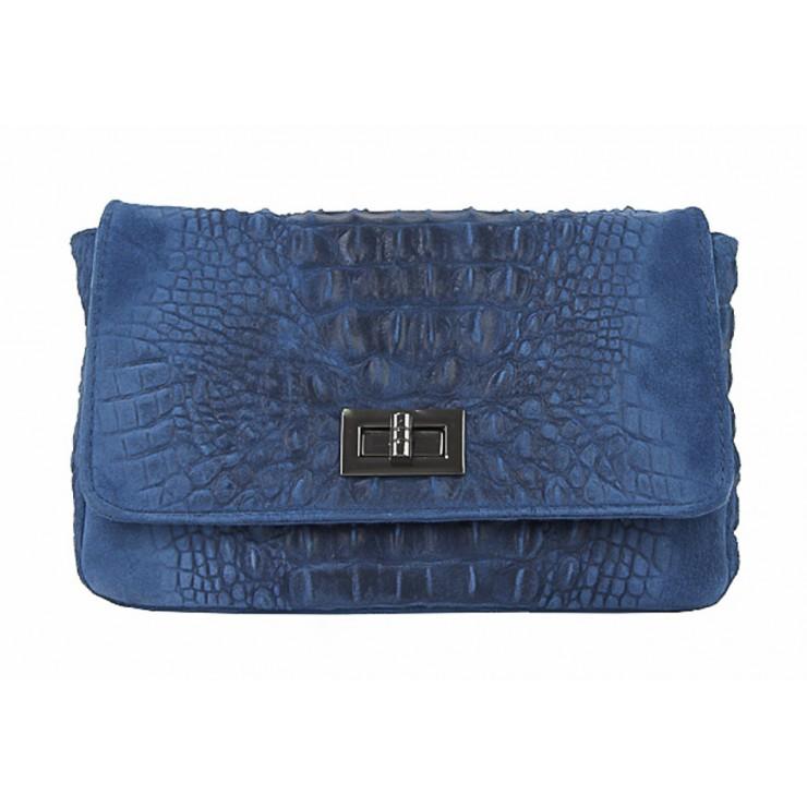 Talianska kožená kabelka potlač krokodýl 439 jeans