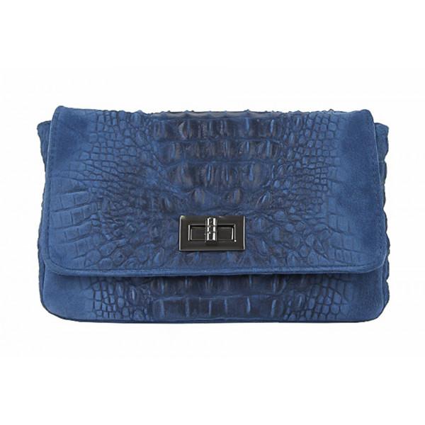 Talianska kožená kabelka potlač krokodíl 439 jeans