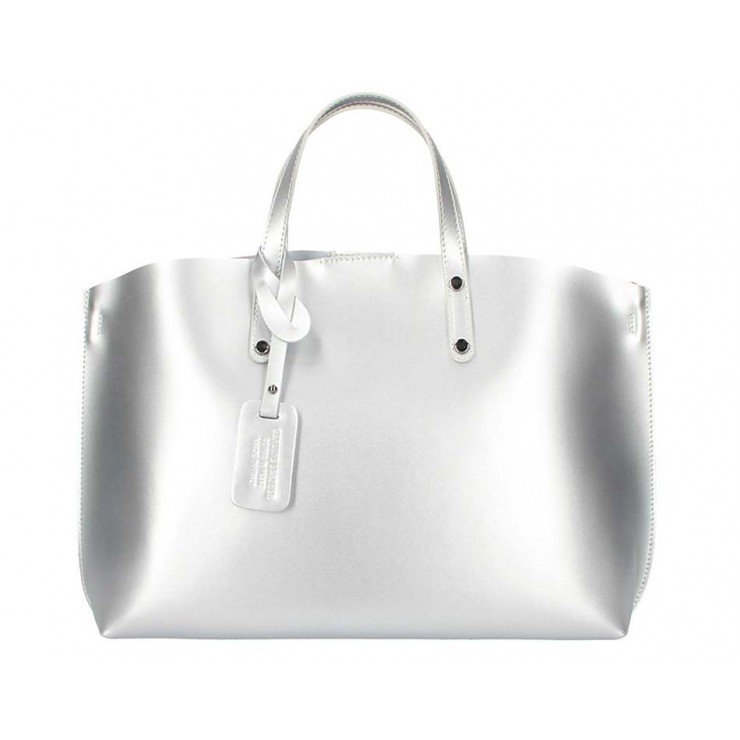 Stříbrná kožená kabelka do ruky 1417