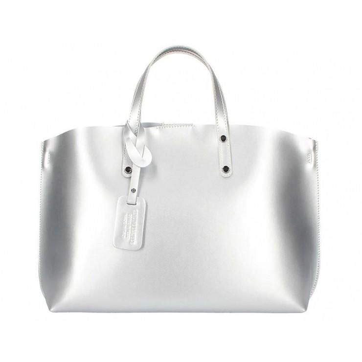 Strieborná kožená kabelka do ruky 5304