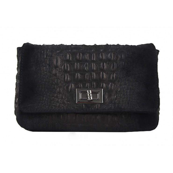 Talianska kožená kabelka potlač krokodýl 439 čierna