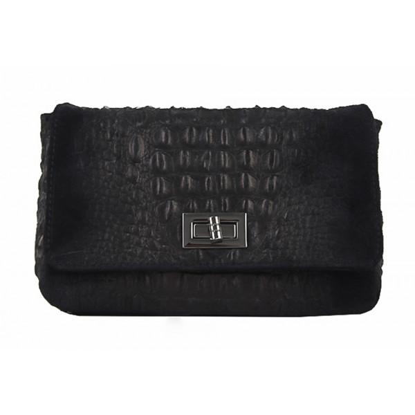 Talianska kožená kabelka potlač krokodíl 439 čierna