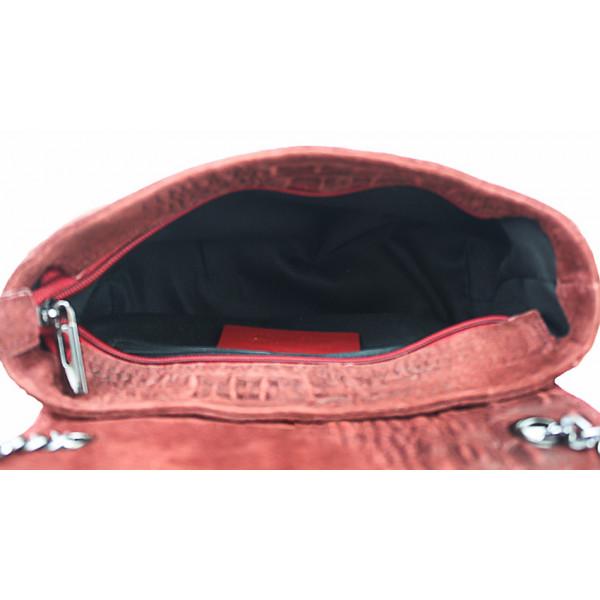 Talianska kožená kabelka potlač krokodíl 439 čierna Čierna