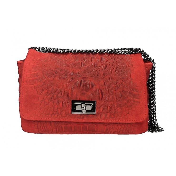 Talianska kožená kabelka potlač krokodýl 439 červená