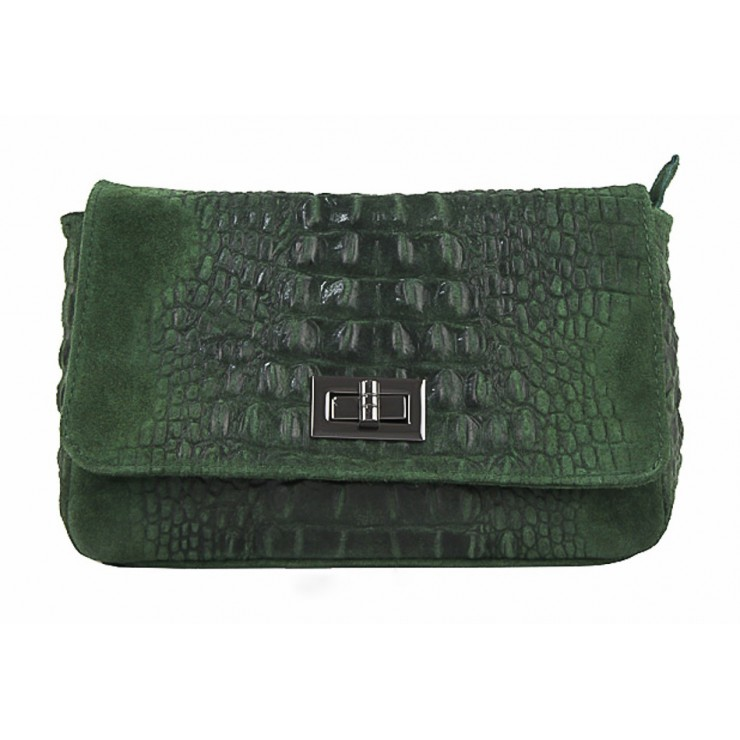 Kožená kabelka krokodýl 439 tmavě zelená