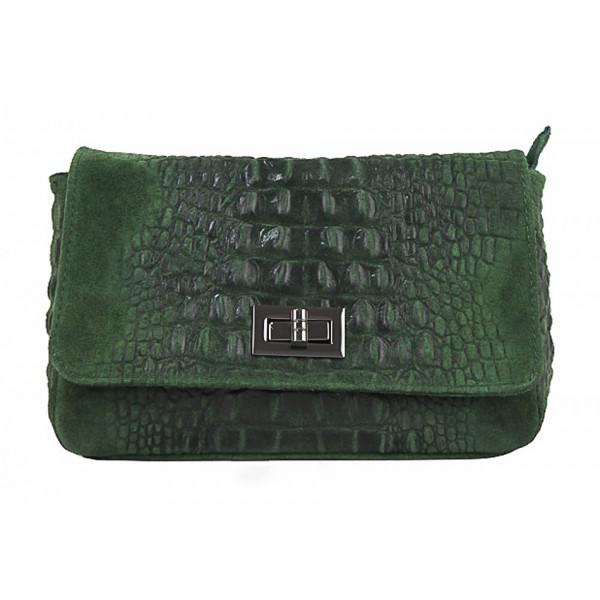 Talianska kožená kabelka potlač krokodíl 439 tmavozelená Zelená