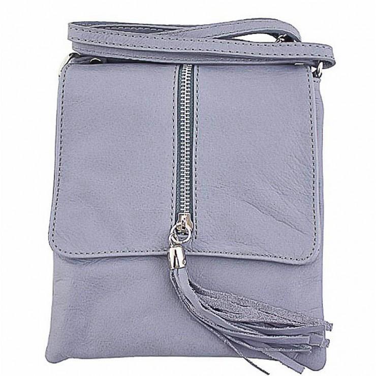 Kožená kabelka na rameno 603A šedá