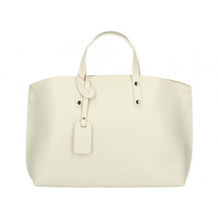 Béžová kožená kabelka do ruky 1417 MADE IN ITALY