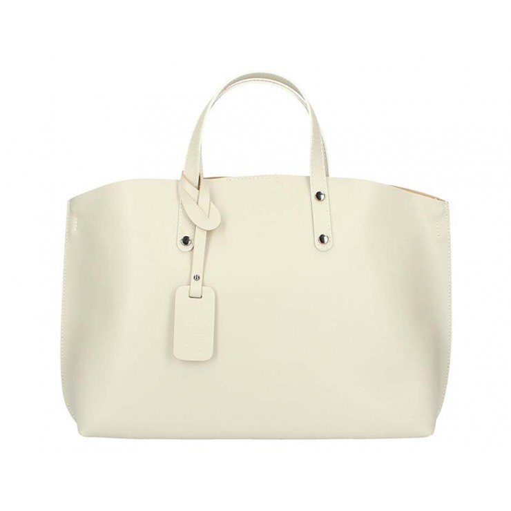 Genuine Leather Handbag 5304 beige