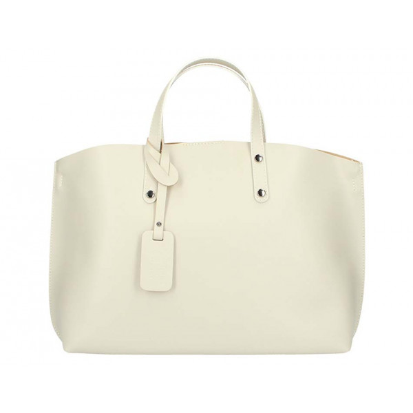 Genuine Leather Handbag 1417 beige