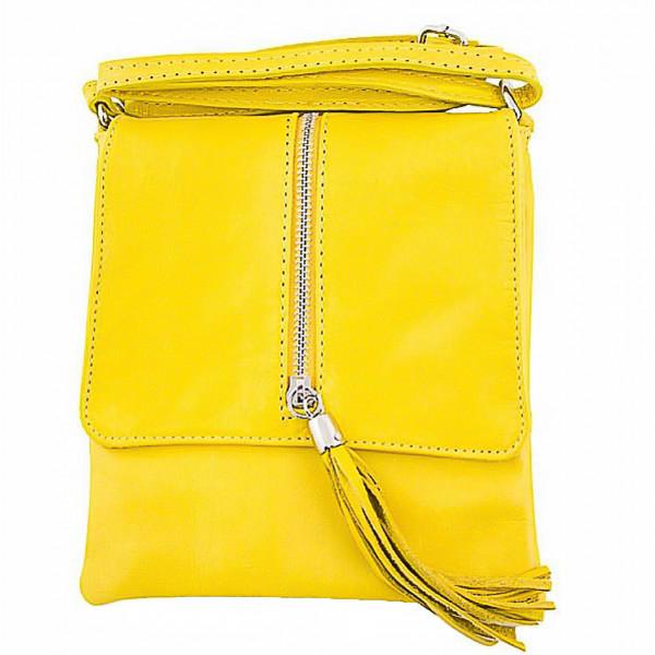 Kožená kabelka na rameno 603A žltá