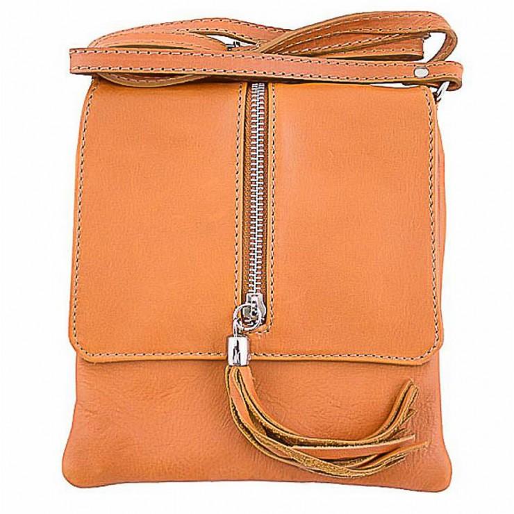 Genuine Leather Shoulder Bag 603A cognac