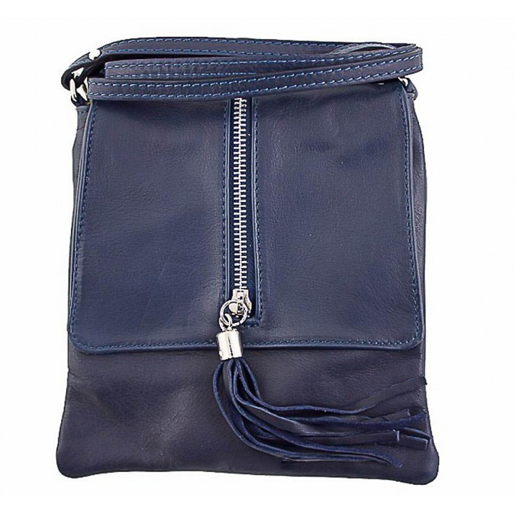 Kožená kabelka na rameno 603A modrá