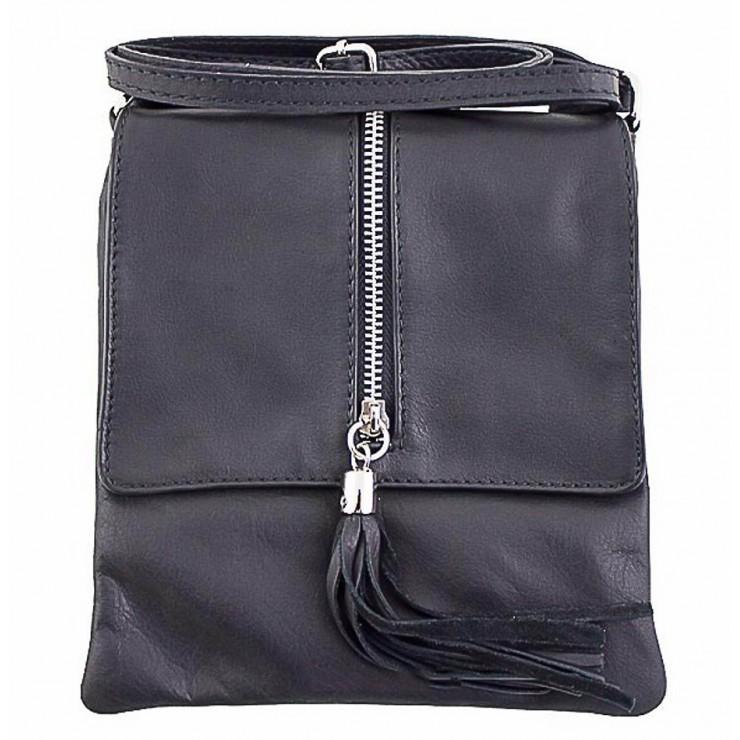 Kožená kabelka na rameno 603A čierna