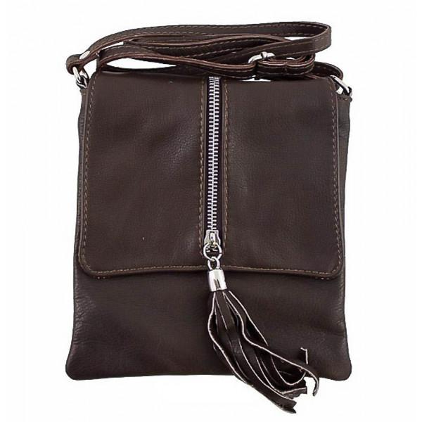 Kožená kabelka na rameno 603A tmavohnedá