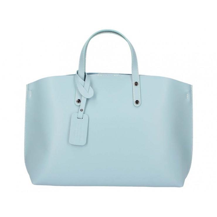 Nebesky modrá kožená kabelka do ruky 5304 MADE IN ITALY