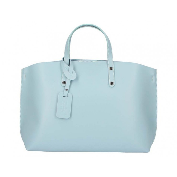 Genuine Leather Handbag 5304 light blue