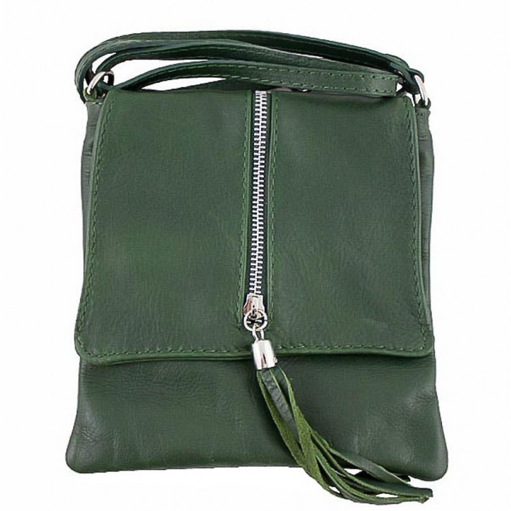 Genuine Leather Shoulder Bag 603A dark green
