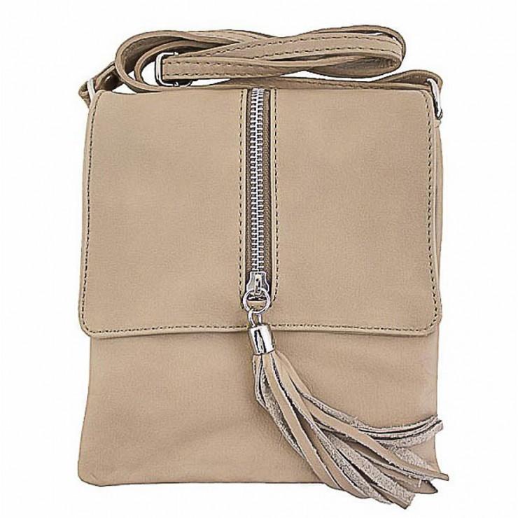 Kožená kabelka na rameno 603A béžová