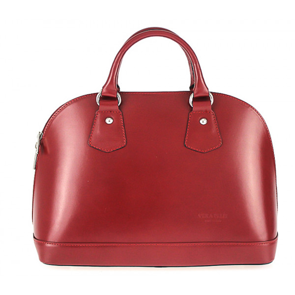 Kožená kabelka do ruky 1203 červená