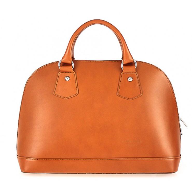 Genuine Leather Handbag 1203 cognac