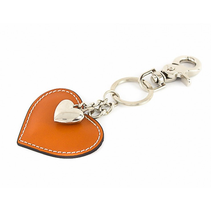 Leather key chains heart cognac Made in Italy
