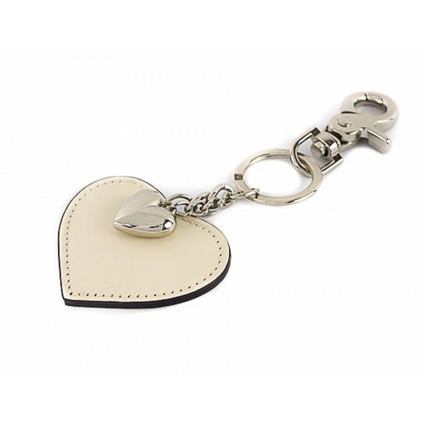 Kožená kľúčenka srdce béžová
