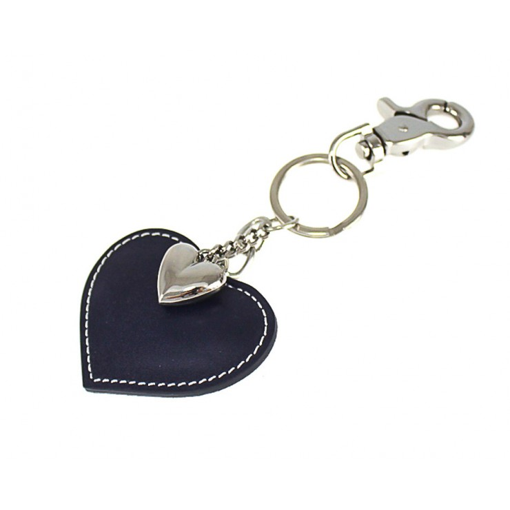 Leather key chains heart dark blue